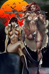 Dynamite - Vampirella Red Sonja # 10 Celor Paralel Evren Exclusive Virgin Variant